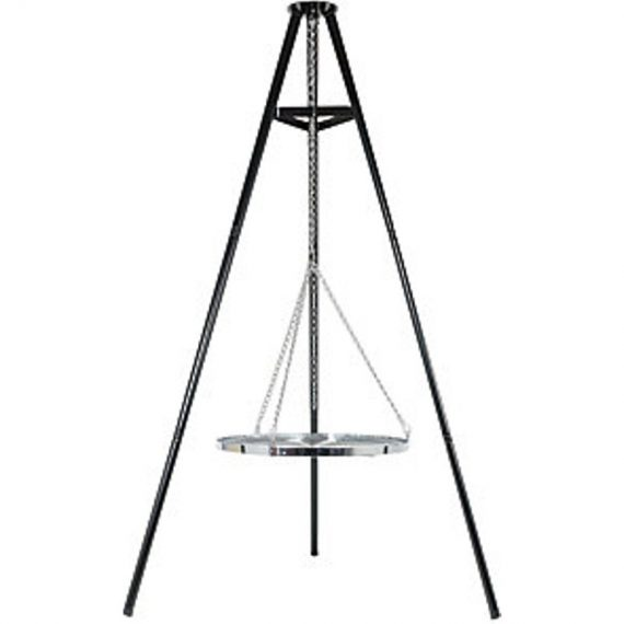 Tripod firepit with a Hanging Grill