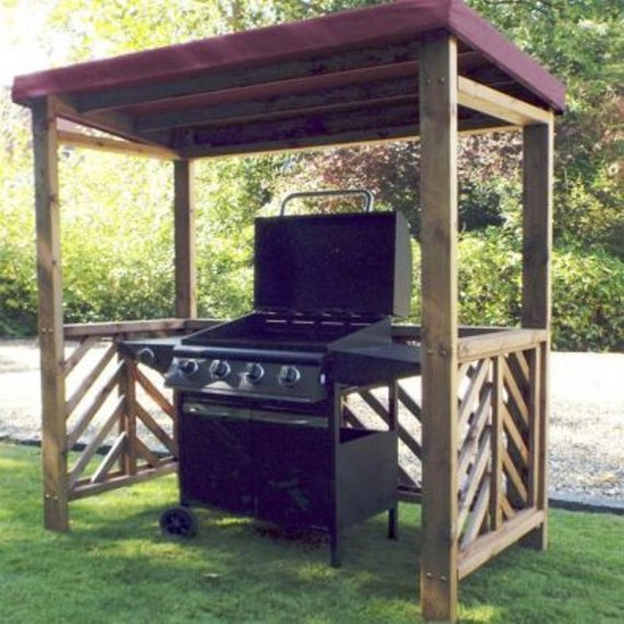 Dorchester Garden BBQ Shelter Burgundy Roof Cover Scandinavian Redwood