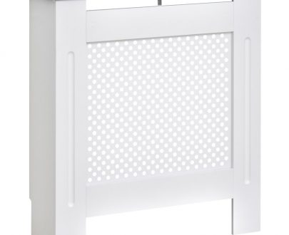 HOMCOM Wooden Radiator Cover Heating Cabinet Modern Home Furniture Grill Style Diamond Design White Painted (Small)