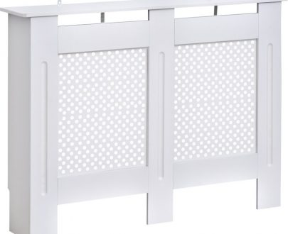 HOMCOM Wooden Radiator Cover Heating Cabinet Modern Home Furniture Grill Style Diamond Design White Painted (Medium)
