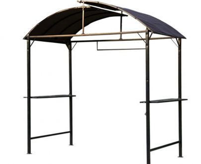 Outsunny Metal Gazebo Marquee Smoking Garden Patio BBQ Tent Grill Canopy Awning Shelter-Coffee