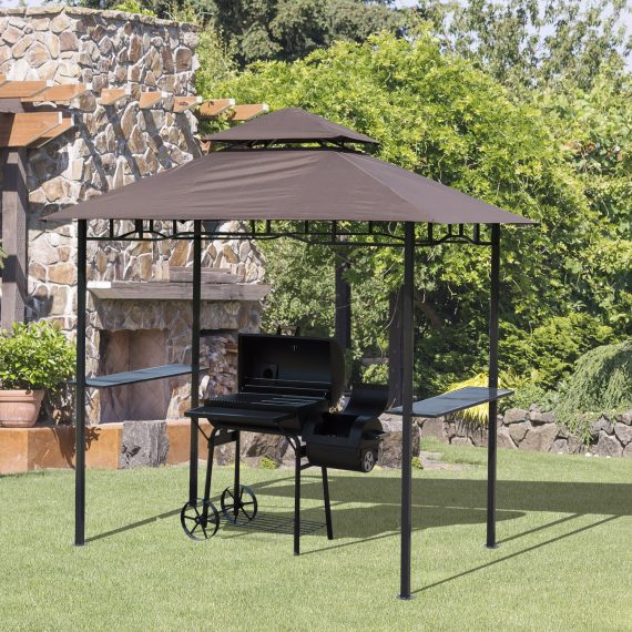 Outsunny 8ft Double-Tier Gazebo Grill Canopy Tent Shelter-Coffee