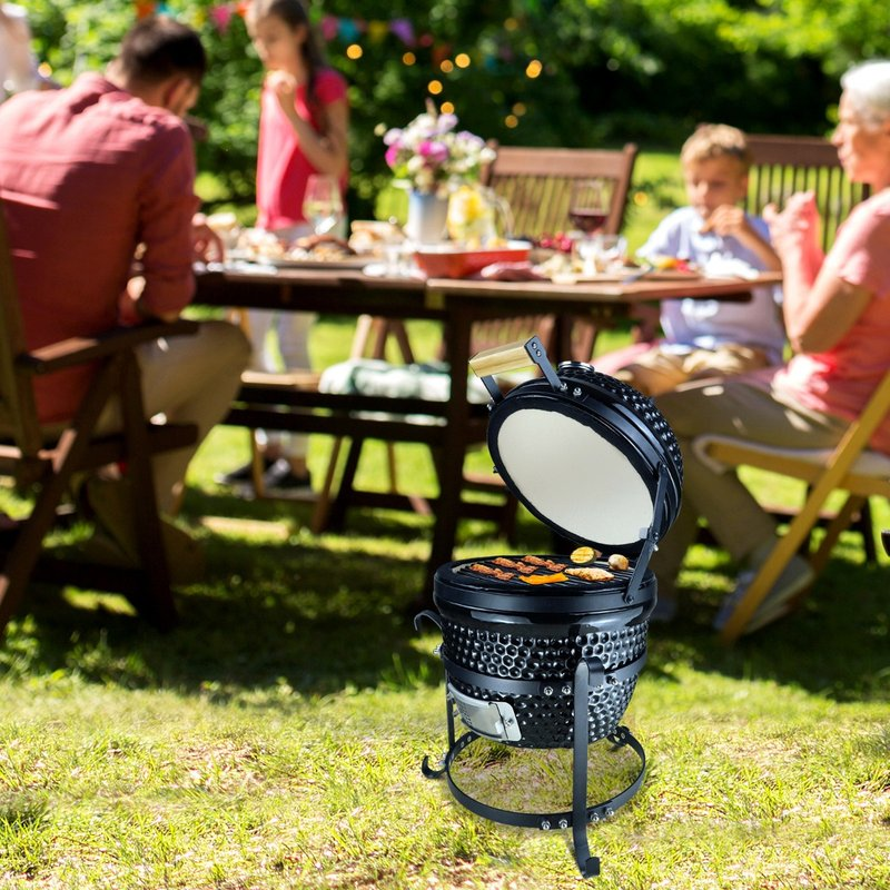 Outsunny Cast Iron Ceramic Kamado Charcoal BBQ Oven Black 5056029888797