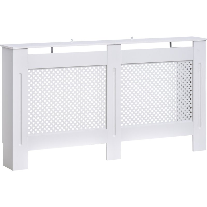 HOMCOM Wooden Radiator Cover Heating Cabinet Modern Home Furniture Grill Style White Painted (Large) 5055974840768