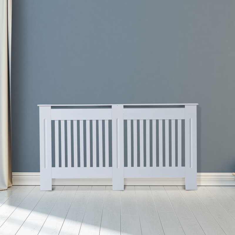 HOMCOM Slatted Radiator Cover Painted Cabinet MDF Lined Grill in White (152L x 19W x 81H cm) 5056029856314