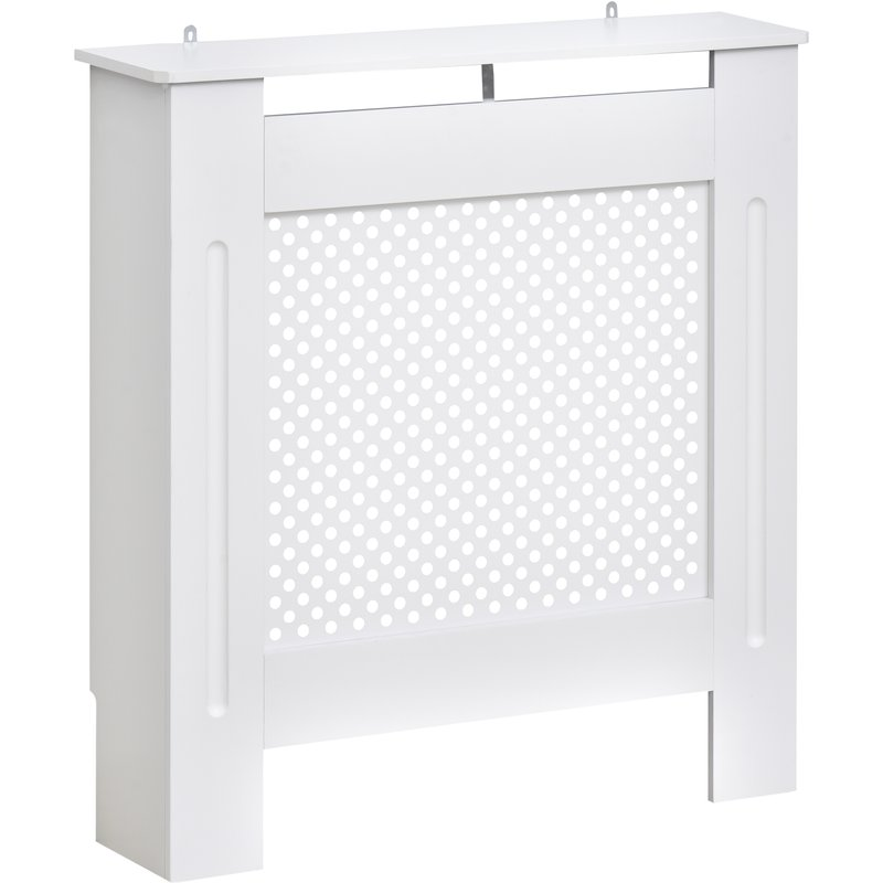 HOMCOM Wooden Radiator Cover Heating Cabinet Modern Home Furniture Grill Style Diamond Design White Painted (Small) 5055974840744