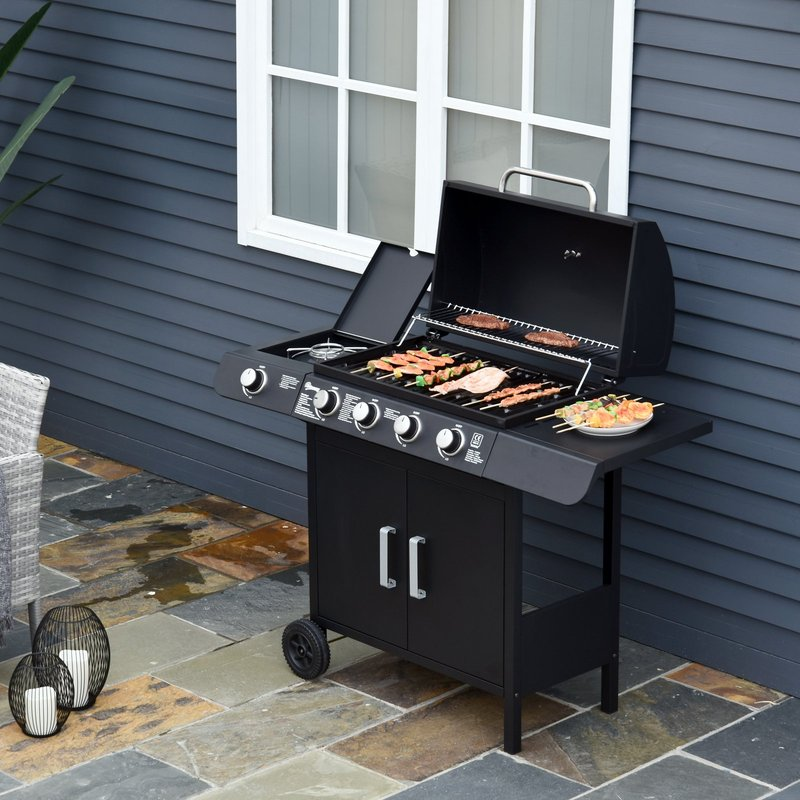 4+1 Gas BBQ Grill with Wheels, Steel-Black 5056029848210