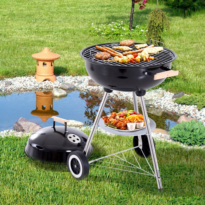 Outsunny Portable Round Kettle Charcoal Grill BBQ Outdoor Heat Control Party Patio Barbecue 5056029829172