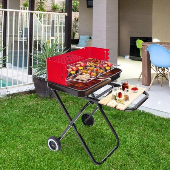 Outsunny Foldable Charcoal Barbecue Grill W/ Wheels-Red & Black 5060348505730