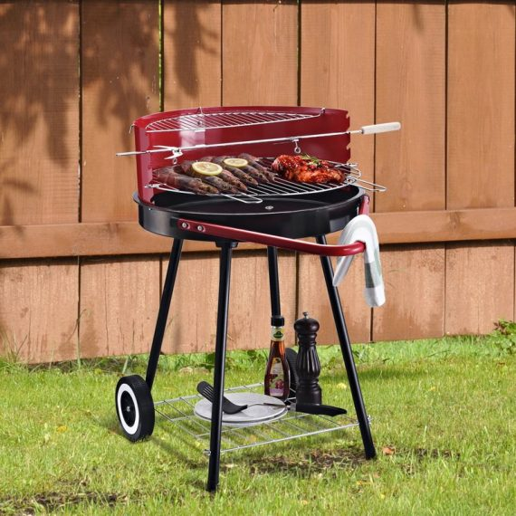 Outsunny Charcoal Barbecue Grill, 67x51x82cm-Red/Black 5060348504429