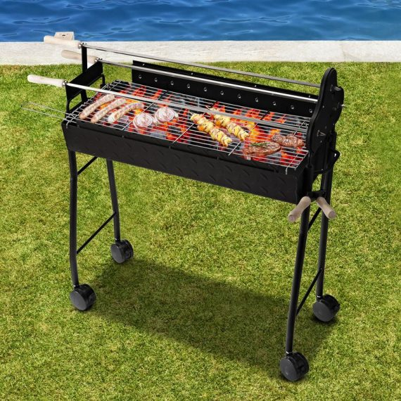 Outsunny Charcoal Barbecue Grill W/ 4 Wheels, size (85x36x90cm)-Black 5060348504467