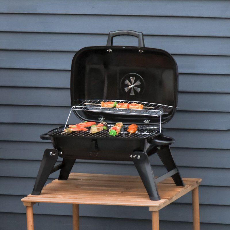 Outsunny Portable Charcoal Grill Compact BBQ Camping Picnic Garden Party Festival Air Vent 5056029848388