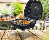 Outsunny Steel Portable Charcoal BBQ Iron Grill w/ Grid Black 5056029894613