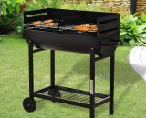 Outsunny Steel 2-Grill Charcoal BBQ w/ Wheels Black 5056029894576