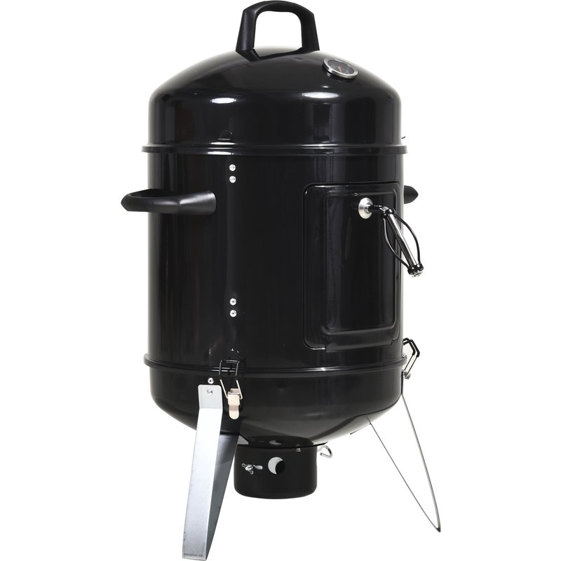 Outsunny Steel 3 in 1 Charcoal Smoker Grill w/ Thermostat Black 5056029894491