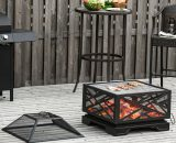 Outsunny 66cm 2 in 1 Square Fire Pit Metal Brazier for Garden, Patio with BBQ Grill Shelf & Spark Screen Cover & Poker, Black 5056399147142