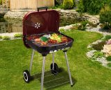 Outsunny Charcoal Barbecue, 45x47.5x70 cm-Red/Black 5055974800885