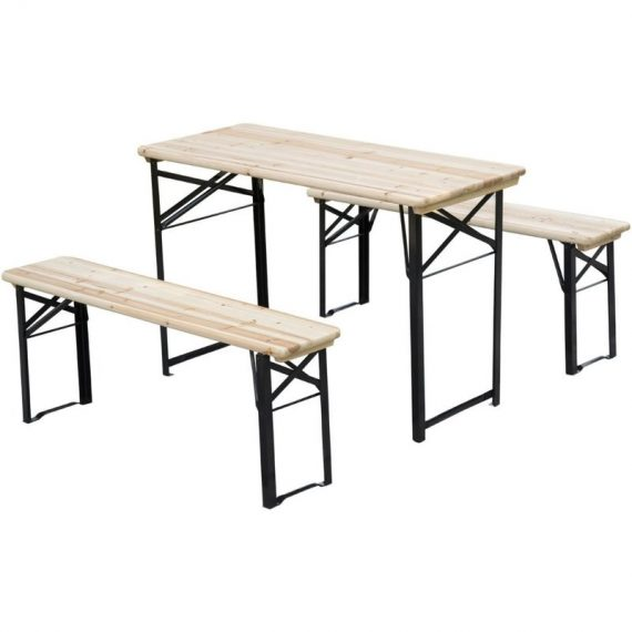 Outsunny Picnic Wooden Table and Bench Set 5055974800298