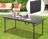 Outsunny 4FT Portable Metal Picnic Table-Black/Brown 5056029899021