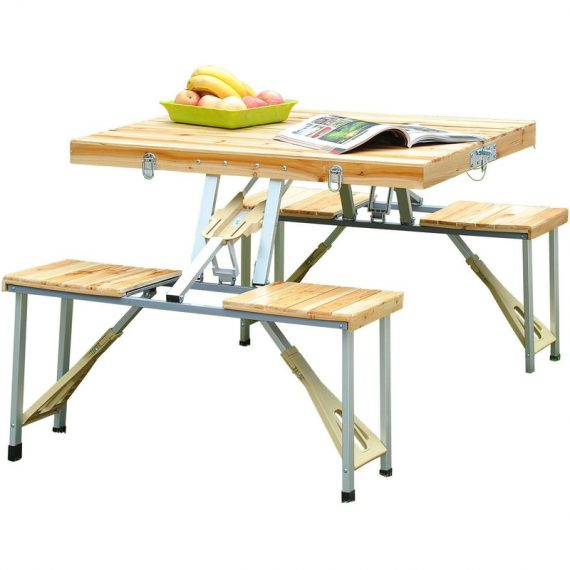 Outsunny Portable Folding Camping Picnic Table Party Field Kitchen Outdoor Garden BBQ Chairs Stools Set Wooden Wood 5060348500230