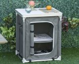 Outsunny 2-Shelf Camping Cupboard Kitchen Station Cook Table Aluminum, Storage Organiser for BBQ Party Picnics Backyards with Carrying Bag A20-160 5056399149467