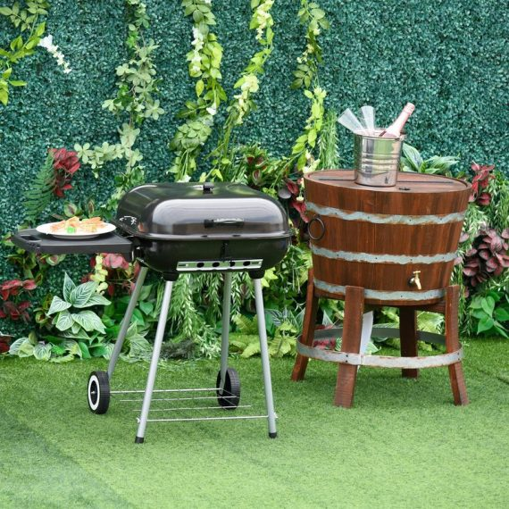 Outsunny Portable Charcoal Steel Grill BBQ Outdoor Picnic Camping Backyard w/ Wheels 846-022 5056029829370
