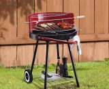 Outsunny Charcoal Barbecue Grill, 67x51x82cm-Red/Black 01-0562 5060348504429