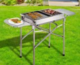 Outsunny Charcoal BBQ Grill, Stainless Steel,68x30x104 cm-Silver 01-0571 5060348504498