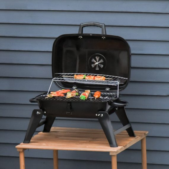 Outsunny Portable Charcoal Grill Compact BBQ Camping Picnic Garden Party Festival Air Vent 846-023 5056029848388