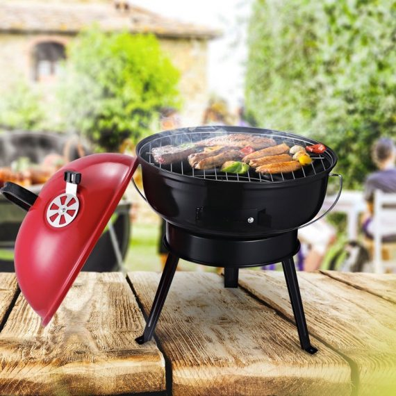 Outsunny Metal Portable Tripod Charcoal BBQ Grill Black Red 846-062RD 5056029850039