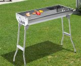 Outsunny Portable Charcoal BBQ Grill-Silver 846-014 5056029898833