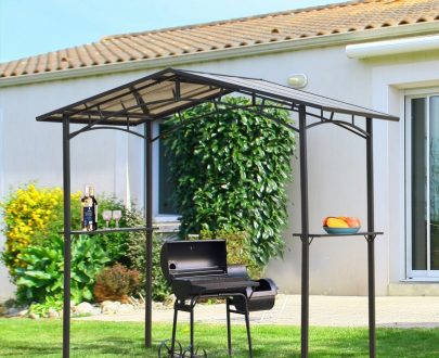 Outsunny 2.5 x 1.5m Grill Gazebo Outdoor BBQ Gazebo Canopy with Side Shelves PC Roof Aluminium 84C-220 5056399146527