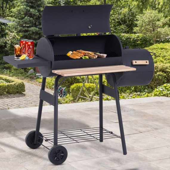 Outsunny Portable Charcoal BBQ Grill Steel Offset Smoker Combo Backyard 846-036 5056029825976