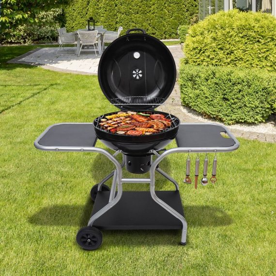 Outsunny Charcoal Trolley Barbecue Grill W/ Wheels 01-0561 5060348505716