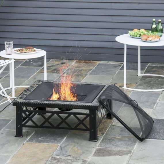 Outsunny 3 in 1 Square Fire Pit Square Table Metal Brazier for Garden, Patio with BBQ Grill Shelf, Spark Screen Cover, Grate, Poker, 76 x 76 x 47cm 842-170 5056399147135
