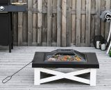 Outsunny 3 in 1 Square Fire Pit Square Table Metal Brazier for Garden, Patio with BBQ Grill Shelf, Spark Screen Cover, Grate, Poker, 86 x 86 x 38cm 842-171 5056399149931