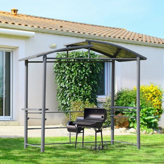 Outsunny 2.4 x 1.5m Grill Gazebo Outdoor BBQ Gazebo Canopy with Side Shelves Hanging Poles Great Ventilation PC Board 84C-237 5056399145407